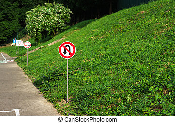 no turning back sign - no turning back and other road signs...