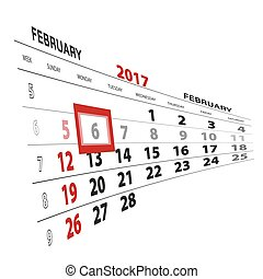February 6, highlighted on 2017 calendar.