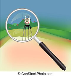 Geodesy and magnifier