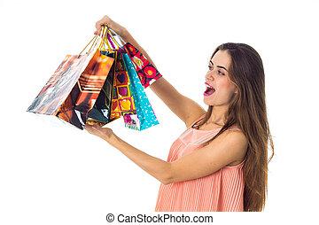 袋, 立つ, 贈り物, 横に, 若い, の上, 大きい, 背景, 隔離された, 女の子, 白, 有色人種