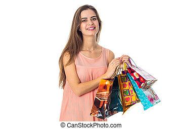 袋, 贈り物, 若い, 隔離された, 朗らかである,  itself, 背景, もつ, 白, 女の子