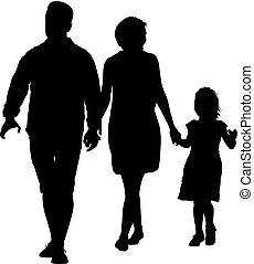 Silhouette of happy family on a white background. Vector illustration.