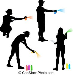 Set silhouette man and woman holding a spray on a white background. Vector illustration