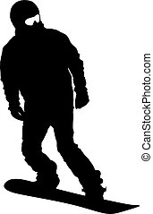 Black silhouettes snowboarders on white background. Vector illustration