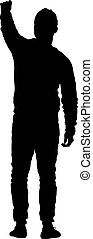 Black silhouettes man with arm raised. Vector illustration.