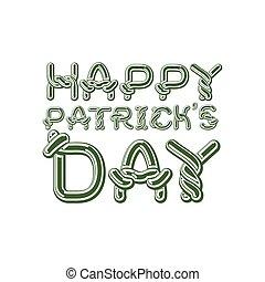 Happy Patrick's Day lettering emblem. Celtic font letters....