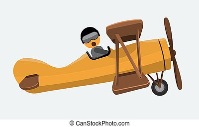 Illustration of a man pilot riding on a vintage plane. Flat...