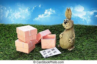 ピンク, ブラウン, 贈り物, 箱, イースター, うさぎ