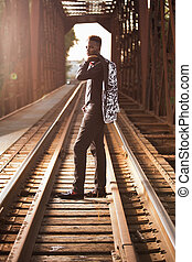 Teenage Male Model - One african american male posing for...