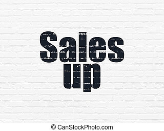 Advertising concept: Sales Up on wall background