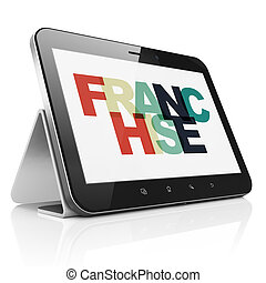 Finance concept: Tablet Computer with Franchise on display -...