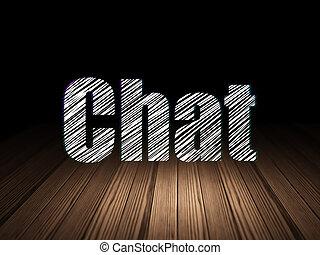 Web development concept: Chat in grunge dark room