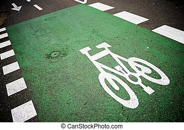 cycleway - Bike lane sign painted on a street.