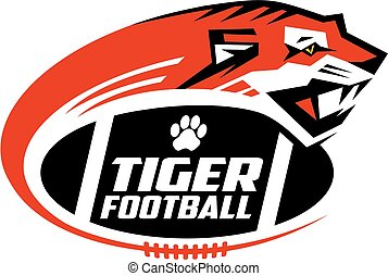 tigers football team design with mascot head for school,...