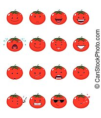 Sixteen tomatoes emojis - Vector illustration of a sixteen...