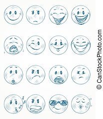 Sixteen blue faces - Vector illustration of a sixteen blue...