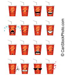 Sixteen glasses emojis - Vector illustration of a sixteen...