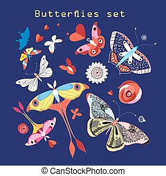 Vector set of various beautiful butterflies