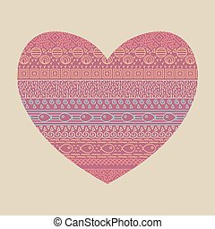 Valentine card with ethnic textile striped seamless pattern with fish in vector. Ornamental print in the shape of heart.