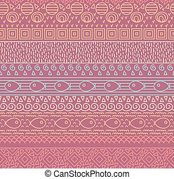 Ethnic textile decorative native ornamental striped seamless pattern with fish in vector.