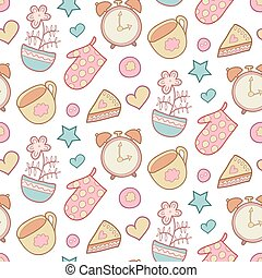 Cute morning vector seamless pattern with star, flower, potholder, pie, cup etc. Kitchen background. Sweet home elements