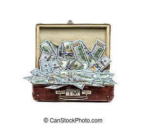 concepto, viejo, empresa / negocio, vendimia, dinero, Lleno,...