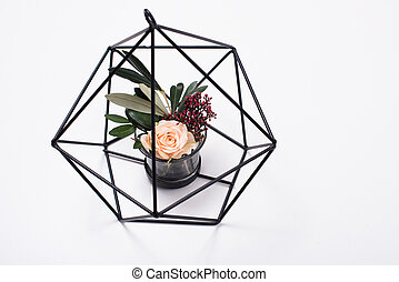Geometric modern home decor with flowers on white background