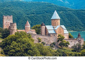aragvi, Géorgie, complexe, château, rivière, ananuri,...