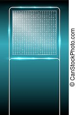 Background with glass panel and binary code