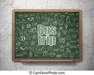 Travel concept: Bus Trip on School board background - Travel...