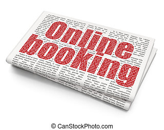 Vacation concept: Online Booking on Newspaper background -...