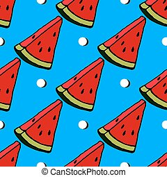 Cute red watermelon slice design on striped blue background, seamless, pattern, wallpaper