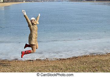 donna, spiaggia, inverno, Saltare