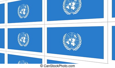 Postcards with United Nations flag - Sheet of postcards with...