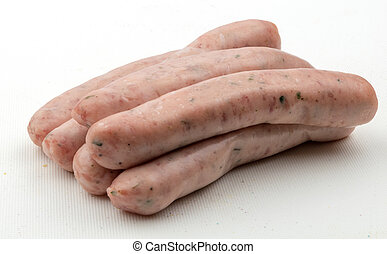 Chipolata sausages - A stack of six raw chipolata sausages...