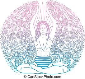 Young pretty girl doing yoga. Vintage decorative vector...