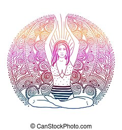 Beautiful Girl with long curly hair sitting in Lotus pose...