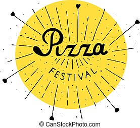 Pizza Fest lettering hand drawn.