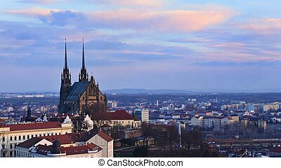 Petrov - St. Peters and Paul church in Brno city. Central...