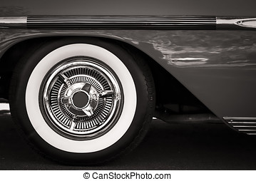 White Walls (Sepia) - The white wall tires of a classic...