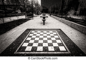 Checkers (Sepia) - Checker tables at San Jacinto Plaza in El...