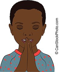 A Young Boy with his Hands Together Praying - A young black...