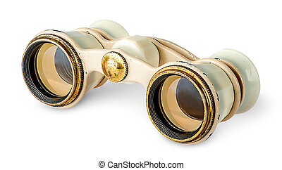 Old vintage pair of opera glasses in opposite directions...