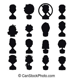 Set of people portrait face icons web avatars silhouette vector.