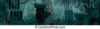 Horizontal old tropic forest nature background.