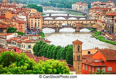 River Arno in Florence with bridge Ponte Vecchio - River...