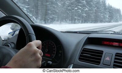 Driving with taddy the winter road. Very low temperature on...
