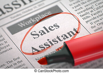 We are Hiring Sales Assistant. 3D. - A Newspaper Column in...