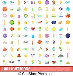 100 light icons set, cartoon style - 100 light icons set in...