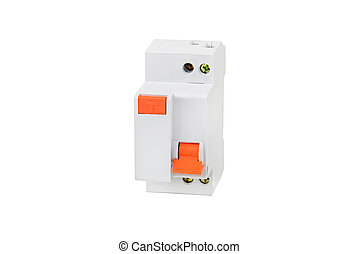 Electrical circuit breaker, isolated on white background